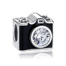 Load image into Gallery viewer, 925 Sterling Silver CZ Black Enamel Camera Pandora Compatible Bead Charm