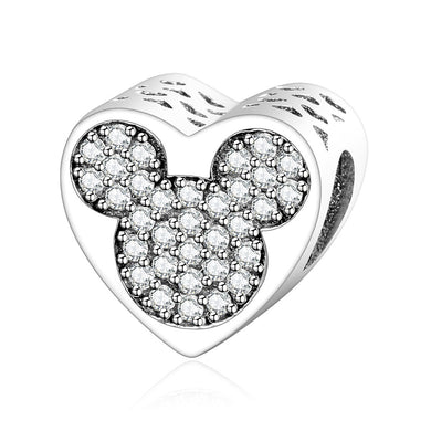 925 Sterling Silver Sparkling CZ Mickey Mouse Heart Pandora Compatible Bead Charm