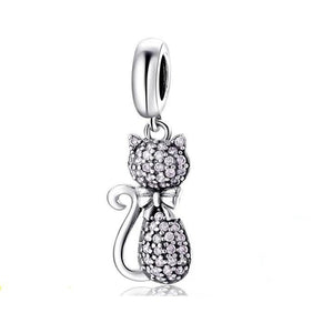 925 Sterling Silver Sparkling CZ Pink Cat Pandora Compatible Dangle Charm