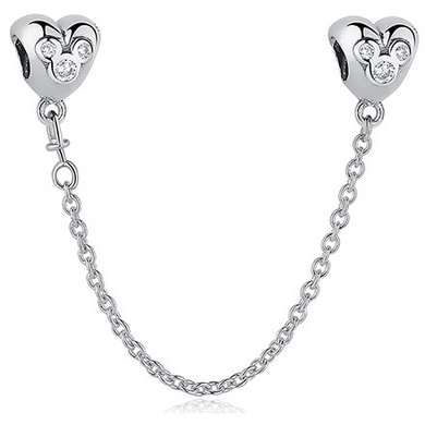 925 Sterling Silver Mickey Mouse Heart Pandora Compatible Safety Chain