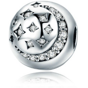 925 Sterling Silver CZ Moon & Star Pandora Compatible CLIP