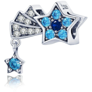 925 Sterling Silver Blue and Clear CZ Shooting Star Pandora Compatible Bead Charm