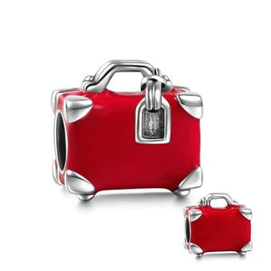 925 Sterling Silver RED Travel Suitcase Pandora Compatible Charm