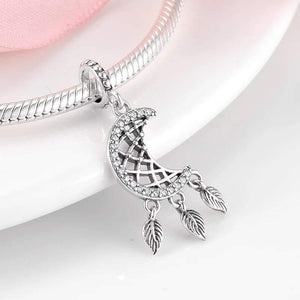925 Sterling Silver CZ Half Moon and Feathers Pandora Compatible Dangle Charm