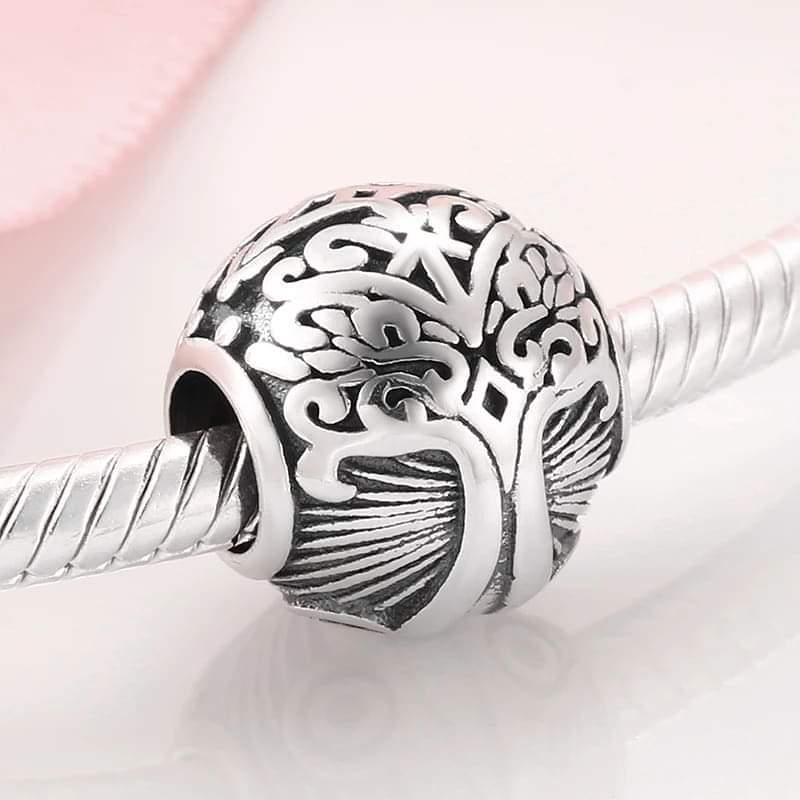 925 Sterling Silver Tree of Life Patterned Pandora Compatible Bead Charm