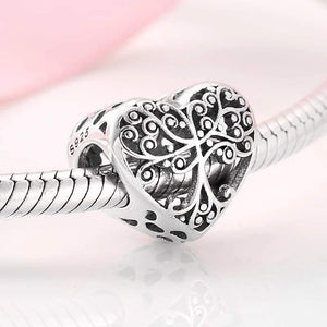 925 Sterling Silver Tree of Life Heart Pandora Compatible Bead Charm