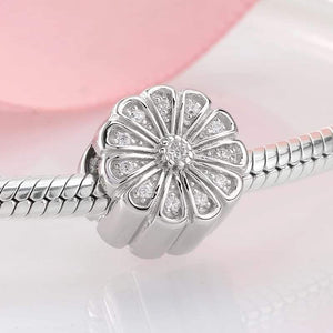 925 Sterling Silver CZ Sunflower Pandora Compatible Charm