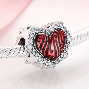 925 Sterling Silver Stylish Red Heart CZ Pandora Compatible Charm