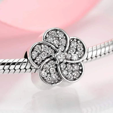 925 Sterling Silver Fancy Flower CZ Pandora Compatible Charm