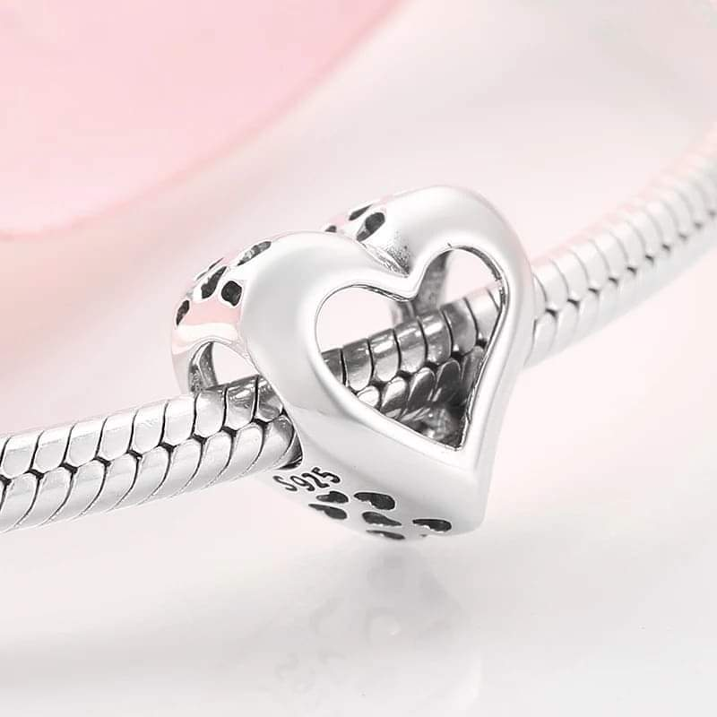 925 Sterling Silver Open Heart Pandora Compatible Charm