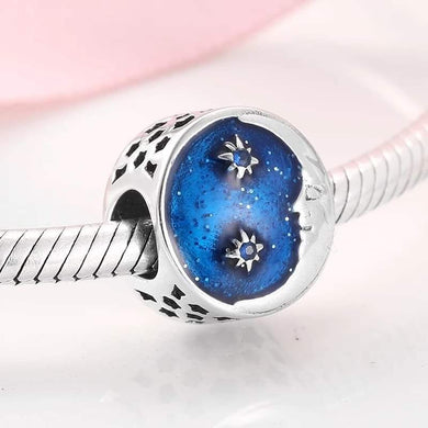 925 Sterling Silver Blue Enamel Moon and Stars Pandora Compatible Bead Charm