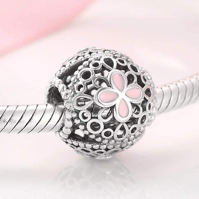 925 Sterling Silver Pink Enamel Openwork Patterned Pandora Compatible Bead Charm