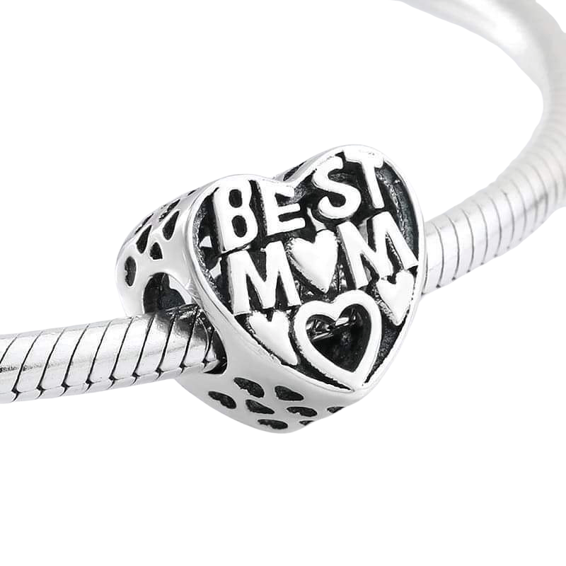925 Sterling Silver Best Mom Heart Pandora Compatible Bead Charm
