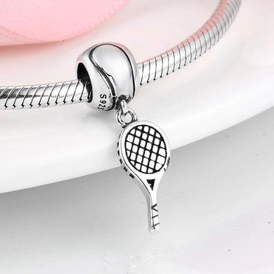 925 Sterling Silver Tennis Racket Pandora Compatible Dangle Charm