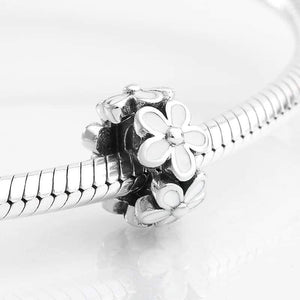925 Sterling Silver White Daisy Pandora Compatible Spacer