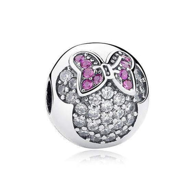 925 Sterling Silver Pink and Clear CZ Minnie Mouse Ball Pandora Compatible CLIP