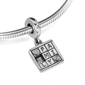 925 Sterling Silver Family Game Pandora Compatible Dangle Charm
