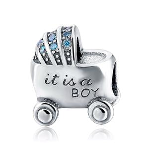 925 Sterling Silver It's a Boy Baby Pram Pandora Compatible Bead Charm