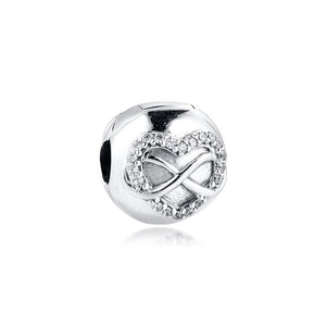 925 Sterling Silver Infinity Heart Pandora Compatible CLIP
