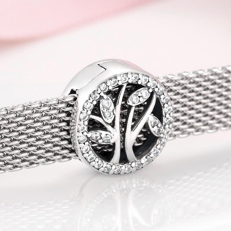 925 Sterling Silver CZ Tree of Life Reflexion Pandora Compatible Charm