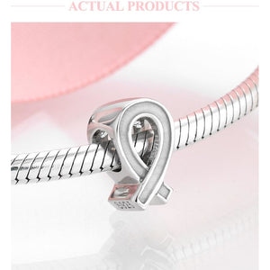 925 Sterling Silver Cancer Ribbon Bead Pandora Compatible Charm