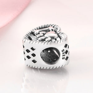 925 Sterling Silver I Love My Pet Paw Print Heart Pandora Compatible Bead Charm