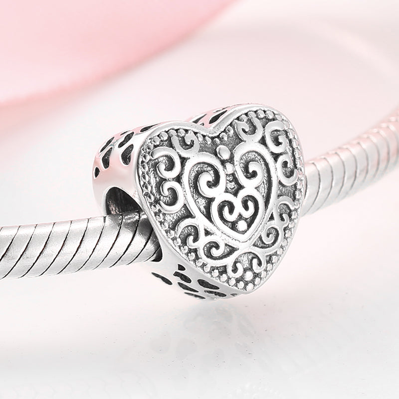 925 Sterling Silver Charming Pattern Heart Shaped Bead Pandora Compatible Charm