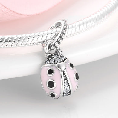 925 Sterling Silver Pink Lady Bug Pandora Compatible Charm