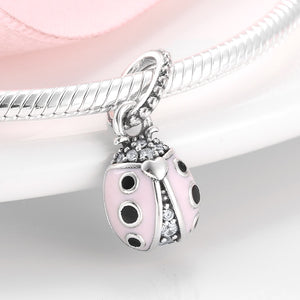 925 Sterling Silver CZ Pink and Black Enamel Ladybird Pandora Compatible Dangle Charm