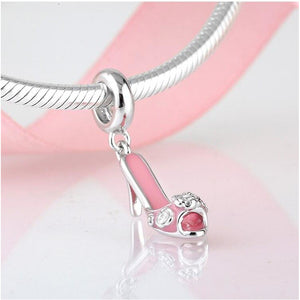 925 Sterling Silver Pink High Heel Shoe Dangle Pandora Compatible Charm