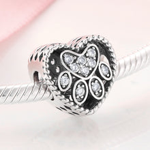 Load image into Gallery viewer, 925 Sterling Silver CZ Paw Print Heart Pandora Compatible Bead Charm