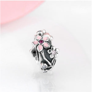 925 Sterling Silver Flower Spacer/Stopper Pandora Compatible Charm