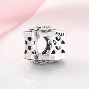 925 Sterling Silver CZ Pink Cross Pandora Compatible Bead Charm