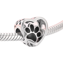 Load image into Gallery viewer, 925 Sterling Silver Black Paw Print Heart Bead Pandora Compatible Charm