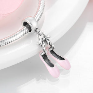 925 Sterling Silver Pink Ballet Shoes Dangle Pandora Compatible Charm