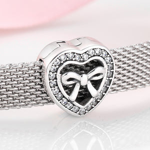 925 Sterling Silver Bow in Heart Reflexion Pandora Compatible Charm