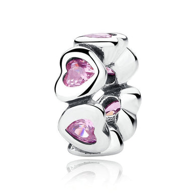 925 Sterling Silver Pink CZ Heart Pandora Compatible Spacer
