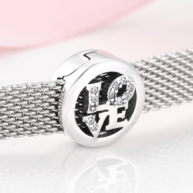 925 Sterling Silver CZ Sparkling LOVE Reflexion Pandora Compatible Charm