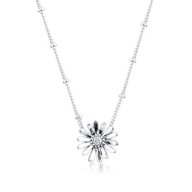 925 Sterling Silver Pavé Daisy Flower Necklace