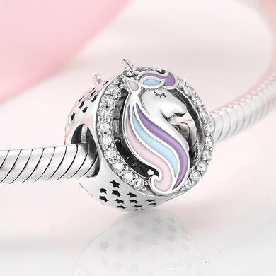 925 Sterling Silver CZ Lovely Unicorn Pandora Compatible Bead Charm