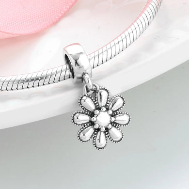 925 Sterling Silver Fancy Daisy Pandora Compatible Dangle Charm