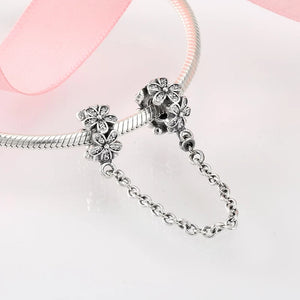 925 Sterling Silver Daisy Pandora Compatible Safety Chain