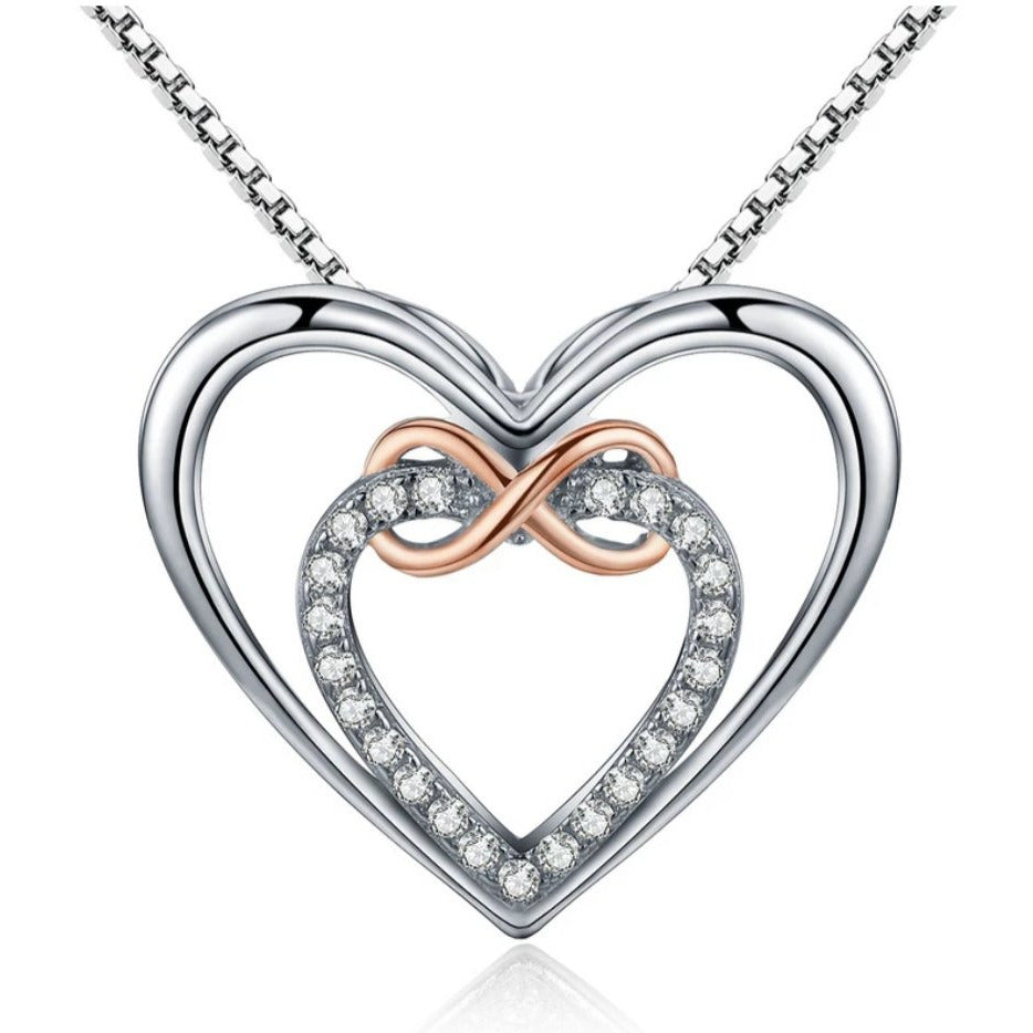 925 Sterling Silver Double Heart Infinity Necklace