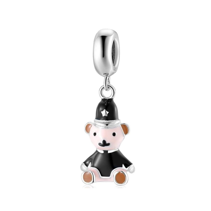 925 Sterling Silver Black Enamel Police Teddy Pandora Compatible Dangle Charm