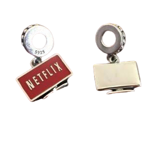 925 Sterling Silver Netflix Pandora Compatible Dangle Charm