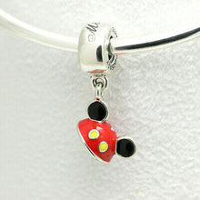 Load image into Gallery viewer, 925 Sterling Silver Enamel Disney Mickey Ear Hat Pandora Compatible Dangle Charm