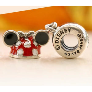 925 Sterling Silver Red Enamel Minnie Ear Hat Pandora Compatible Dangle Charm