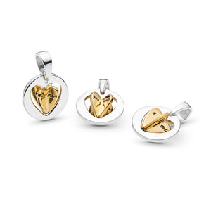 925 Sterling Silver Mom's Golden Heart Pandora Compatible Dangle Charm