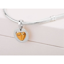 Load image into Gallery viewer, 925 Sterling Silver Mom's Golden Heart Pandora Compatible Dangle Charm