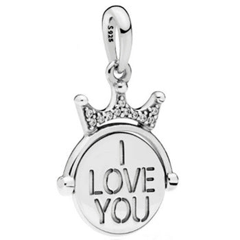 925 Sterling Silver Royal Crown I LOVE YOU Pandora Compatible Dangle Charm